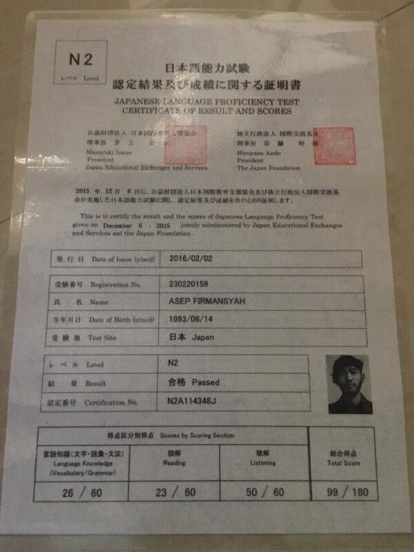 Sertifikat ujian Bahasa Jepang