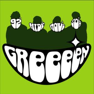 Logo Greeeen yang berbentuk mulut yang sedang tersenyum